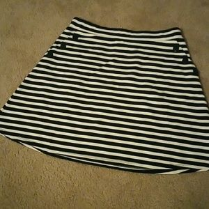 Navy and white striped A-line skirt